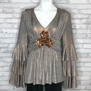Boston Proper tiered bell sleeve top with flowers